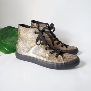 Gotta Flurt Metalic Gold High Top Sneakers
